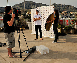 Torvar Mirsky from The Wave Muscat team doing a TV interview for the World Match Racing Tour.