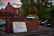 Dumped mattress on the pavement with the humourous message painted, Nothing really mattress, 28th May 2015, London, United Kingdom.