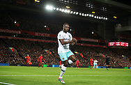 Michail Antonio of West Ham United celebrates after scoring during the Premier League match at Anfield Stadium, Liverpool. Picture date: December 11th, 2016.Photo credit should read: Lynne Cameron/Sportimage