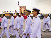 04 DECEMBER 2012 - BANGKOK, THAILAND: Thai military cadets walk through Sanam Luang near the Grand Palace after rehearsing their role in the birthday celebrations for Bhumibol Adulyadej, the King of Thailand. The King celebrates his 85th birthday Wednesday, Dec. 5. He is expected to make a rare public appearance and address the nation from Mukkhadej balcony of the Ananta Samakhom Throne Hall in the Royal Plaza. The last time he did so was in 2006. His birthday is a public holiday in Thailand and hundreds of thousands of people are expected to jam the streets around the Royal Plaza and Grand Palace to participate in the festivities.    PHOTO BY JACK KURTZ