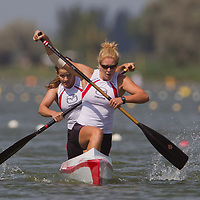 Laurence Vincent-lapointe (front) and Mallorie Nicholson (back) from Canada paddle their boat during the C2 women Canoe 500m final of the 2011 ICF World Canoe Sprint Championships held in Szeged, Hungary on August 20, 2011. ATTILA VOLGYI