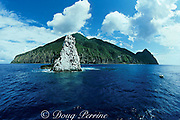 Saba Island and Diamond Rock - a pinnacle that reaches from 60 feet below the surface to 80 feet above it, Netherlands Antilles ( Eastern Caribbean Sea )