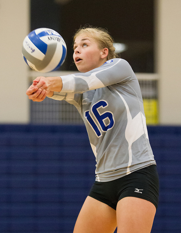 Sarah Arvidson, of Colby College, during an NCAA Division III volleyball match against The University of Maine at Fort Kent at The Whitmore-Mitchell at Wadsworth Gymnasium, Saturday Sep. 6, 2014 in Waterville, ME.  (Dustin Satloff/Colby College Athletics)