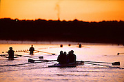 Sydney Olympics 2000 - Penrith Lakes, NSW.  GBR M4-Earley Morning traiining, Tim Foster, Matthew Pinsent, Steve Redgrave and James Cracknell.© 2000 All Rights Reserved - Peter Spurrier Sports Photo. .Tel 44 (0) 1784-440 771  .Mobile 44 (0) 973 819 551.email images@intersport-images.com Rowing Course: Penrith Lakes, NSW Sunrise, Sunsets, Silhouettes 2000 Olympic Regatta Sydney International Regatta Centre (SIRC) 2000 Olympic Rowing Regatta00085138.tif
