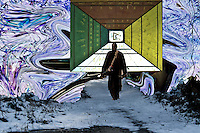 enlightenment representation with walking man on path covered by snow going toward a corridor with Tibetan scripts and symbols located in fluid sky with blue shades