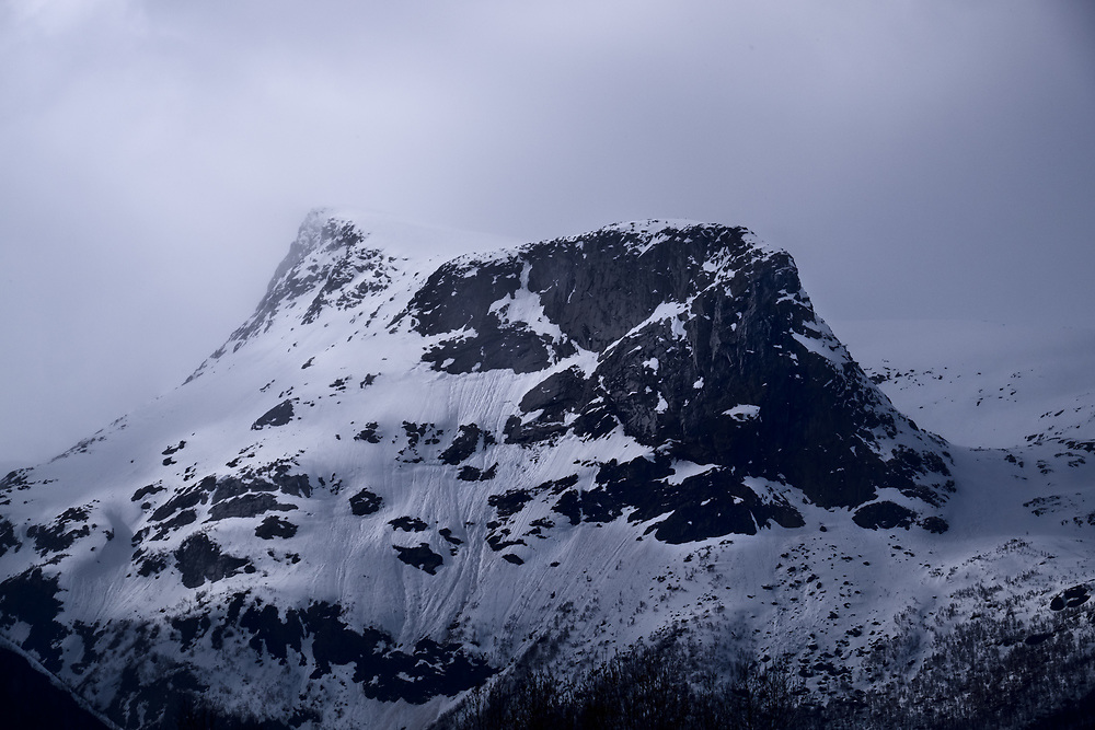 These tall black mountains on the way to Vesterålen put on their best clothing to welcome Spring.
