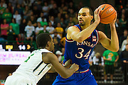WACO, TX - JANUARY 7: Perry Ellis #34 of the Kansas Jayhawks brings the ball up court against the Baylor Bears on January 7, 2015 at the Ferrell Center in Waco, Texas.  (Photo by Cooper Neill/Getty Images) *** Local Caption *** Perry Ellis