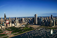 Chicago Skyline featuring Buckingham Fountain & Monroe Harbor
