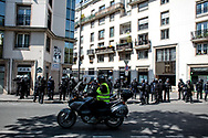 The Yellow Vests security is exploring the area before the demonstration arrive