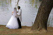 quiet moment for newlyweds