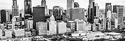 Chicago skyline aerial panorama photo in black and white. Picture iwas taken in 2013. Panorama photo ratio is 1:3.
