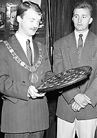 Lord Mayor of Dublin, Sean Haughey pesenting the Dublin Derry City Supporters Club Perpetual Player of the Year trophy to the Dublin-Born Mick Neville at the function in the Mansion House in attendance where the Mayor of Derry City Anthony Carlin and Fran Fields the President of the FAI, 18/08/1989 (Part of the Independent Newspapers Ireland/NLI Collection).