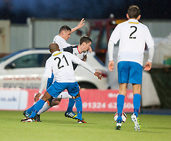 Falkirk's Conor McGrandles brought down for a penalty claim.<br /> Falkirk 1 v 1 Morton, Scottish Championship game today at The Falkirk Stadium.<br /> © Michael Schofield.
