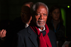"""London, October 23 2017. Nelson Mandela's group of Elders including former UN Secretary General Kofi Annan and Secretary General Ban Ki-moon accompanied by his widow Graca Machel gather at Parliament Square at the start of the Walk Together event in memory of Nelson Mandela before a candlelight vigil at his statue in Parliament Square. """"WalkTogether is a global campaign to inspire hope and compassion, celebrating communities working for the freedoms that unite us"""". PICTURED: Former UN Secretary General Kofi Annan.  © Paul Davey"""