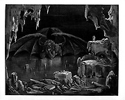 From the Divine Comedy by 14th century Italian poet Dante Alighieri. 1860 artwork, by French artist Gustave Dore and engraved by Stephane Pannemaker, from 'The Vision of Hell' (1868), Cary's English translation of the Inferno. Dante wrote his epic poem 'Divina Commedia' (The Divine Comedy) between 1308 and his death in 1321. Consisting of 14,233 lines, and divided into three parts (Inferno, Purgatorio, and Paradiso), it is considered the greatest literary work in the Italian language and a world masterpiece. It is a comprehensive survey of medieval theology, literature and thought. The new non-dialect poetic language Dante created became the basis of modern Italian.