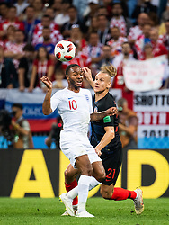 July 11, 2018 - Moscow, Russia - 180711 Raheem Sterling of England and Domagoj Vida of Croatia competes for the ball during the FIFA World Cup semi final match between Croatia and England on July 11, 2018 in Moscow..Photo: Petter Arvidson / BILDBYRÃ…N / kod PA / 92085 (Credit Image: © Petter Arvidson/Bildbyran via ZUMA Press)