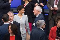 12 FEB 2017, BERLIN/GERMANY:<br /> Sarah Wagenknecht (L), Die Linke Fraktionsvorsitzende, und Oskar Lafontaine (R), Die Linke, Fraktionsvoritzender Landtag Saarland, im Gespraech, 16. Bundesversammlung zur Wahl des Bundespraesidenten, Reichstagsgebaeude, Deutscher Bundestag<br /> IMAGE: 20170212-02-012<br /> KEYWORDS: Gespräch, Ehepartner, Ehefrau, Ehemann, Bundespraesidentenwahl, Bundespräsidetenwahl