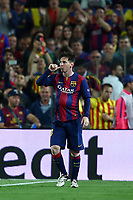Lionel Messi of FC Barcelona celebrates after scoring his side's opening goal during the UEFA Champions League semi-final first leg match, between FC Barcelona and Bayern Munchen on May 6, 2015 at Camp Nou stadium in Barcelona, Spain. <br /> Photo: Manuel Blondeau/AOP.Press/DPPI