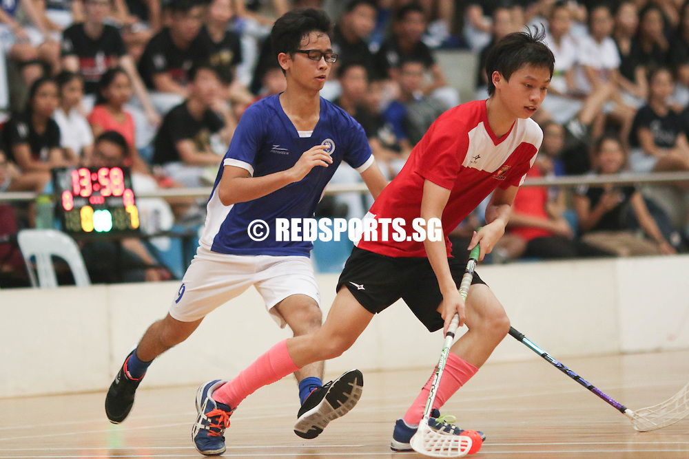 Yishun Sports Hall, Wednesday, May 25, 2016 — Powerhouses Meridian Junior College (MJC) easily dispatched Anglo-Chinese Junior College (ACJC) 8-0 to move on to the National A Division Floorball Championship final.