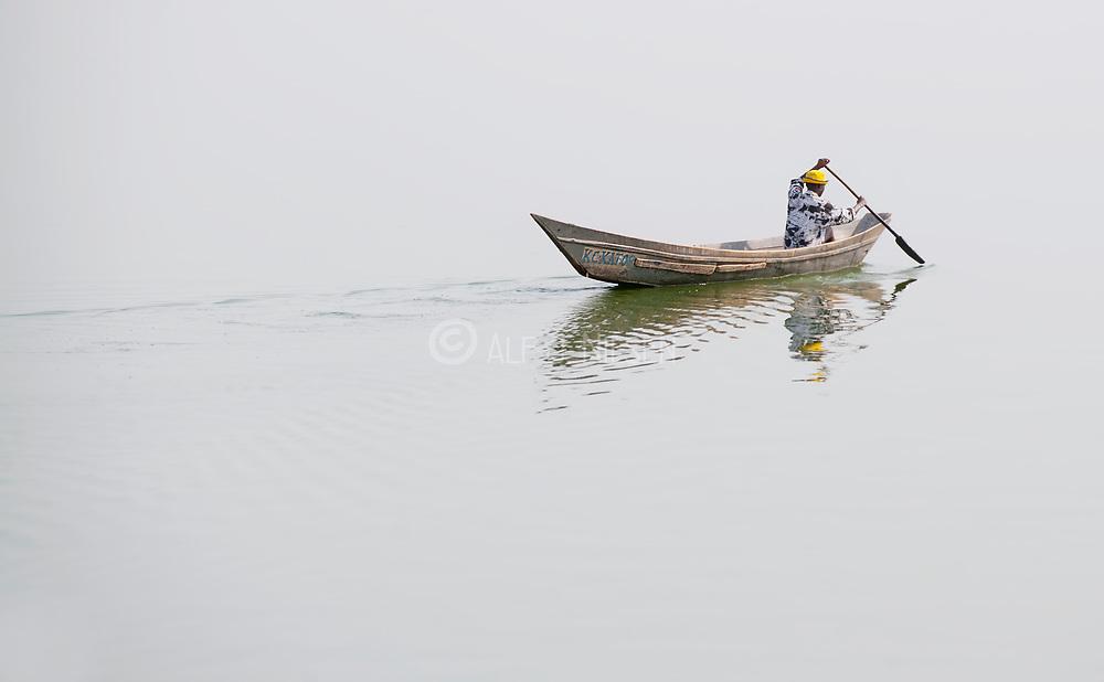 Traditional boat on the Kazinga Channel, Uganda.