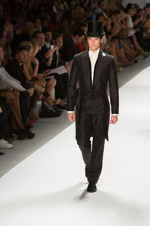 Men's formal suit with top hat and tails. By Zang Toi, shown at his Spring 20132 Fashion Week show in New York.