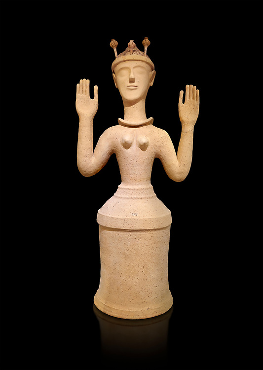"""Minoan Postpalatial terracotta  """"Poppy goddess: statue with raised arms and poppy seed crown,  Karphi Sanctuary 1300-1200 BC, Heraklion Archaeological Museum, black background. <br /> <br /> The """"Poppy Goddess"""" statuye is crowned with opium poppy seed heads. As opium is a hallucinogen that also sedates and has healing properties, experts assume this was the goddess of pain relief and healing/ During this period both Minoan and Mycenaean graves were found in Karphi snctuary so these cult gods are attributable to both cultures .<br /> <br /> If you prefer to buy from our ALAMY PHOTO LIBRARY  Collection visit : https://www.alamy.com/portfolio/paul-williams-funkystock/minoan-art-artefacts.html . Type -   Heraklion   - into the LOWER SEARCH WITHIN GALLERY box. Refine search by adding background colour, place, museum etc<br /> <br /> Visit our MINOAN ART PHOTO COLLECTIONS for more photos to download  as wall art prints https://funkystock.photoshelter.com/gallery-collection/Ancient-Minoans-Art-Artefacts-Antiquities-Historic-Places-Pictures-Images-of/C0000ricT2SU_M9w"""