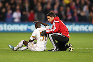 Modou Barrow of Swansea City receives treatment. Barclays Premier League match, Crystal Palace v Swansea city at Selhurst Park in London on Monday 28th December 2015.<br /> pic by John Patrick Fletcher, Andrew Orchard sports photography.