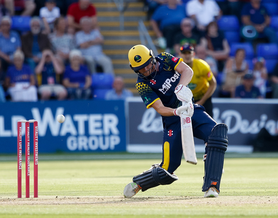 Glamorgan's Aneurin Donald in action today <br /> <br /> Photographer Simon King/Replay Images<br /> <br /> Vitality Blast T20 - Round 8 - Glamorgan v Gloucestershire - Friday 3rd August 2018 - Sophia Gardens - Cardiff<br /> <br /> World Copyright © Replay Images . All rights reserved. info@replayimages.co.uk - http://replayimages.co.uk
