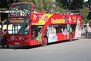Open topped double decker tour bus, Marrakech, Morocco