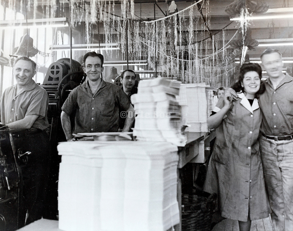 workers at a paper factory with Xmas decoration USA 1940s