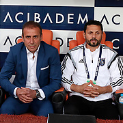 Istanbul Basaksehir's coach Abdullah Avci (L) during their Turkish Super League soccer match Istanbul Basaksehir between Fenerbahce at the Basaksehir Fatih Terim Arena at Basaksehir in Istanbul Turkey on Monday, 25 May 2015. Photo by Aykut AKICI/TURKPIX