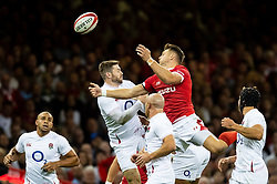 Dan Biggar of Wales and Elliot Daly of England contest the high ball<br /> <br /> Photographer Simon King/Replay Images<br /> <br /> Friendly - Wales v England - Saturday 17th August 2019 - Principality Stadium - Cardiff<br /> <br /> World Copyright © Replay Images . All rights reserved. info@replayimages.co.uk - http://replayimages.co.uk