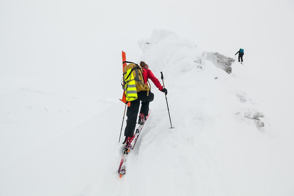 Mylène Jacquemart skis up towards the summit of Nordenskioldfjellet, Svalbard.