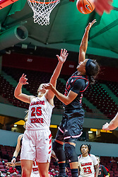 NORMAL, IL - November 20: Myia Starks shoots while defended by Lexi Wallen during a college women's basketball game between the ISU Redbirds and the Huskies of Northern Illinois November 20 2019 at Redbird Arena in Normal, IL. (Photo by Alan Look)