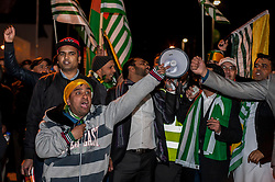 © Licensed to London News Pictures. 13/11/2015. London, UK. Pro Kashmiri supporters voice their opinions outside Wembley Stadium after Indian Prime Minister Modi was special guest at a gathering for 55,000 British Indians inside the stadium. Photo credit : Stephen Chung/LNP