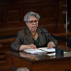 Austin, TX USA March 31, 2021:  State Rep. Senfronia Thompson, D-Houston, on the floor of the Texas House of Representatives during routine bill readings at the 87th Texas legislative session. Emergency bills include power company regulation, border security and the coronavirus response.
