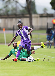 31032018 (Bloem Celtic) Lubisi Aphiwe tackles with (Maritzburg United ) Siphesihle Ndlovu during a match were Maritzburg United walloped Bloemfontein Celtic with early goal in the first half of the game at Harry Gwala Stadium in Petermarizburg yesterday.<br /> Picture: Motshwari Mofokeng/ANA