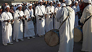 Traditional musicians in white robes Essaouira, Morocco, north Africa