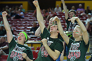 March 18, 2016; Tempe, Ariz;  Members of the Green Bay Phoenix pep band cheer during a game between No. 7 Tennessee Lady Volunteers and No. 10 Green Bay Phoenix in the first round of the 2016 NCAA Division I Women's Basketball Championship in Tempe, Ariz.
