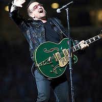 Picture By: Drew Farrell / Retna Pictures .Picture shows :  Bono performing during The U2 360° Tour  at Hampden Park, Glasgow, Scotland. Tuesday August 18th, 2009 . * Non-Exclusive World Rights * .*Unbylined uses will incur an additional discretionary fee!*....