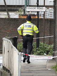 © Licensed to London News Pictures. 24/05/2021. London, UK. Police officers are seen at Consort Road in Peckham south London after Black Lives activist Sasha Johnson was shot. Ms Johnson remains in a critical condition in hospital after the shooting which happened at 3am on Sunday morning. Photo credit: Peter Macdiarmid/LNP