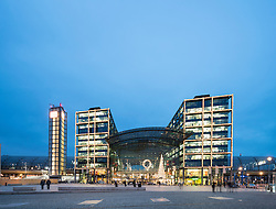 Exterior view of Hauptbahnhof main railway station at night in Berlin, Germany