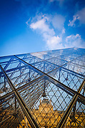 Pyramid detail, Louvre Museum, Paris, France
