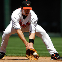 01 July 2007:  Baltimore Orioles first baseman Chris Gomez (14) fields a ground ball off the bat of Los Angeles Angels right fielder Vladimir Guerrero to end the 6th inning.  The Angels defeated the Orioles 4-3 at Camden Yards in Baltimore, MD.   ****For Editorial Use Only****