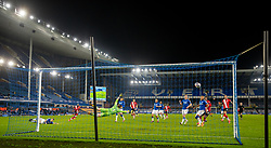 LIVERPOOL, ENGLAND - Monday, March 1, 2021: Everton's goalkeeper Jordan Pickford dives in vein as Southampton's Moussa Djenepo sees his shot go wide during the FA Premier League match between Everton FC and Southampton FC at Goodison Park. Everton won 1-0. (Pic by David Rawcliffe/Propaganda)