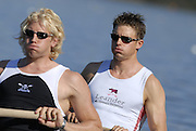 Hazewinkel, BELGIUM,  men's pair stroke Andy TWIGGS HODGE and peter REED move away from the start pontoon in the Sunday afternoon semi final, at the GB Rowing Senior Trials, on Sun,15.04.2007  [Credit, Peter Spurrier/Intersport-images]   [Mandatory Credit, Peter Spurier/ Intersport Images]. , Rowing Course, Bloso, Hazewinkel. BELGUIM