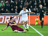Football - 2018 / 2019 Championship - Swansea City vs Aston Villa<br /> … at the Liberty Stadium.<br /> <br /> Jefferson Montero of Swansea City tackled by <br /> <br /> Credit: COLORSPORT/Winston Bynorth
