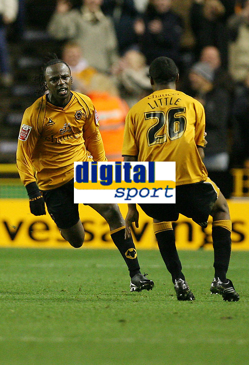 Photo: Rich Eaton.<br /> <br /> Wolverhampton Wanderers v Sunderland. Coca Cola Championship. 24/11/2006. Jemal Johnson left of Wolves celebrates his first half gaol with teammate Mark Little right