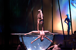 Nevada, NV, Las Vegas, city at night, famous Cirque du Soleil Zumanity, shot with permission but no model release, entertainment, dance show, nude, lesbian, large bowl of water, dancers, Photo nv259-17016.Copyright: Lee Foster, www.fostertravel.com, 510-549-2202,lee@fostertravel.com