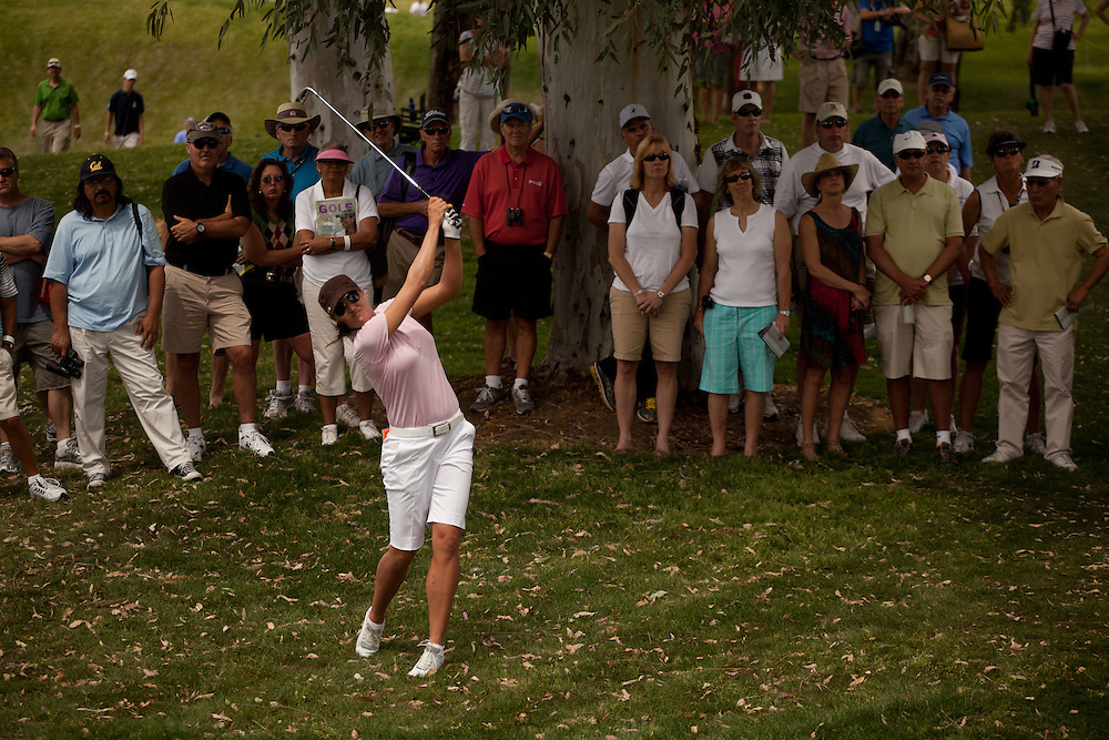 RANCHO MIRAGE, CA - APRIL 2: Sophie Gustafson of Sweden plays a shot during the third round of the 2011 Kraft Nabisco Championship at Mission Hills Country Club in Rancho Mirage, California on April 2, 2011. (Photograph ©2011 Darren Carroll) *** Local Caption *** Sophie Gustafson